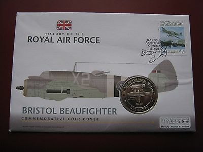 Gibraltar 2008 UNC Crown History of RAF Bristol Beaufighter Coin Cover FDC