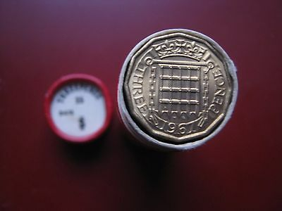 UK British 1967 Pre-decimal 25x 3 Pence Threepence UNC coins in red tube
