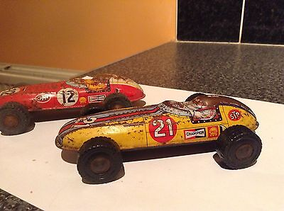 Vintage Friction Tinplate 1960,s F1 Racing Cars