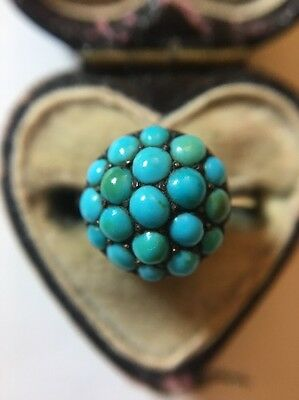 Victorian Antique Yellow Gold 18ct Pave Turquoise Unusual Ring