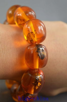 Collectable Handwork Decoration Old Amber Inside Inlay Bees Ancient Bracelet