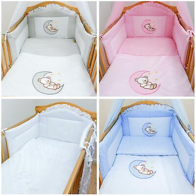 3 Pce Baby Cot Cotbed Bumper Set Duvet Cover Pillowcase - Bear Moon Embroidery