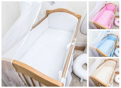 3 Piece Baby Bedding Set Large All Round Bumper Fits Cot Cot Bed - Plain
