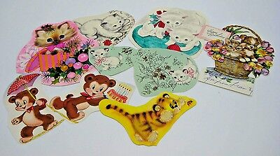 Vintage 50s 60s Lot of 9 Kitten and Bear Cutouts from Old Cards for Scrapbooks