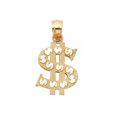 14K Solid Yellow Gold Dollar Sign Pendant - $ Money Polished Necklace Charm