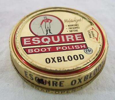 Vintage Esquire Oxblood Shoe Polish Canister Tin