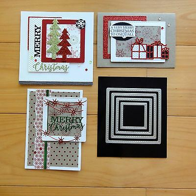"Kaisercraft Stitched Squares Cutting Dies + Magnetic Sheet 5 Pcs ""reduced"" Bnip"