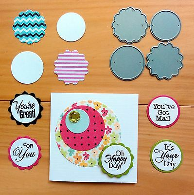 IMPRESSION OBSESSION MINI CIRCLE TAGS Cutting Dies 4 shapes BNIP