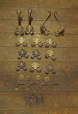Solid brass hooks various sizes X 17