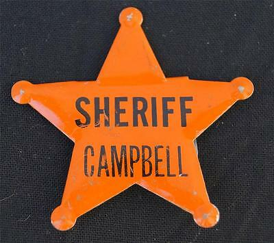 Vintage Plastic Badge Politician Campaign Sheriff  Campbell