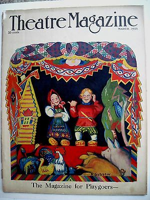 """Vintage March 1925 Theatre Magazine w/ Bright Colored Cover by B. Gussow""""   *"""