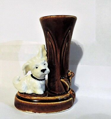 Made in occupied Japan pottery toothpick match holder with white Scott terrier