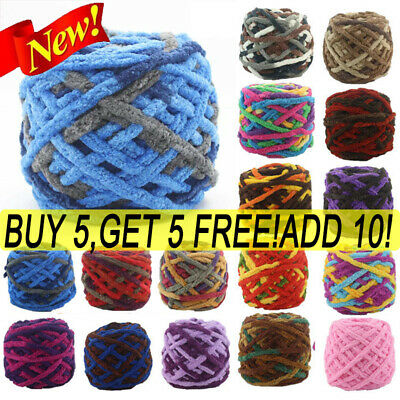 100G Crochet DOUBLE Chunky chenille soft cotton Knitting Wool yarn 42 COLOURS