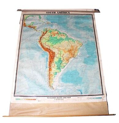 South America Map 81x60 Denoyer Geppert Relief Folding School Canvas Vintage
