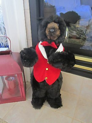 Ditz Standing Black Bear Plush with Red Bow and Vest 2 Ft Tall  NWT!