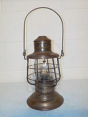Solid Brass Perkins Bell Bottom Double Wire Marine Lantern Tall Globe Railroad