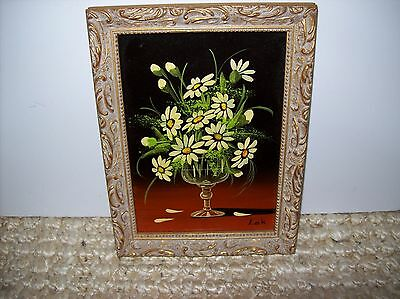 """Vintage Mid 20th Century Oil Painting Signed Maria Lak Framed 6 1/4 x 8 1/4"""""""