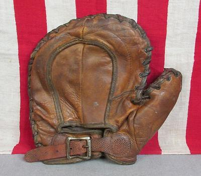 Vintage 1920s Leather Baseball Glove Buckle Strap Wrist Fielders Mitt Antique