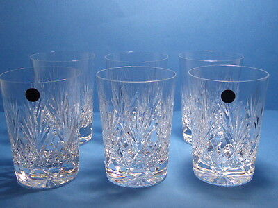 "Bridge Crystal Stourbridge Leander Cut 4 1/4"" Tall Tumbler Glass x 6"