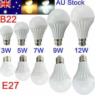 AU E27 B22 Bayonet 5/7/9/12W LED Energy Saving Globe Light Lamp Bulb AC220V-240V