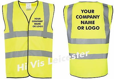 Hi Vis Waist Coat printed with YOUR COMPANY NAME OR LOGO front & back