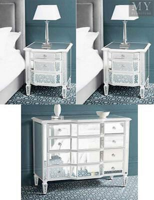 Leonore Mirrored & White Painted Bedside Tables & Dresser Chest Package