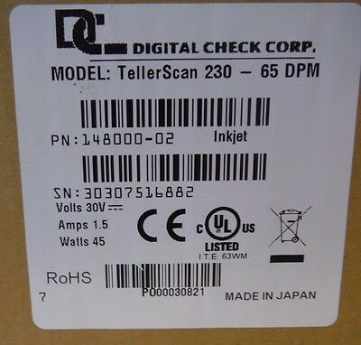 Digital Check Corp TellerScan 230 - 65 DPM Check Scanner P/N 148000-02 Inkjet
