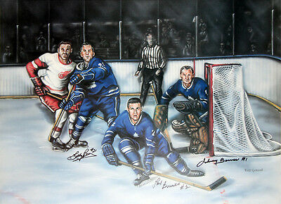 The Last Line Of Defence signed By Baun, Brewer &  Bower, Toronto Maple Leafs