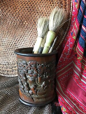 Old Chinese Carved Bamboo Scholar Brush Pot / Bitong… wonderful patina