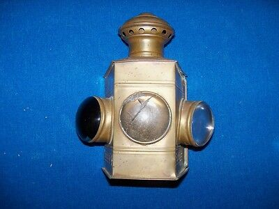 Scarce Antique Brass 3 Lens Maritime Marine Nautical Ships Lantern Lamp Light