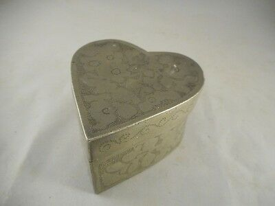 Antique CHINESE? SWATOW? Heart Shaped Pewter Lidded Box with Incised Decoration