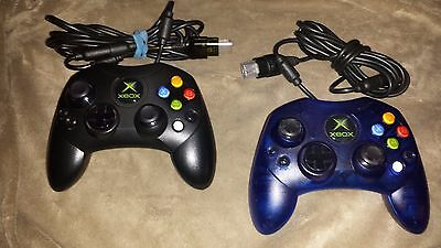 2 Official Microsoft Xbox Controllers - Blue & Black - Type S OEM -Controller