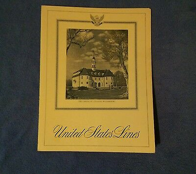 S.S.UNITED STATES -March 7,1965 -Ships Dinner Menu -Colonial Williamsburg Cover!