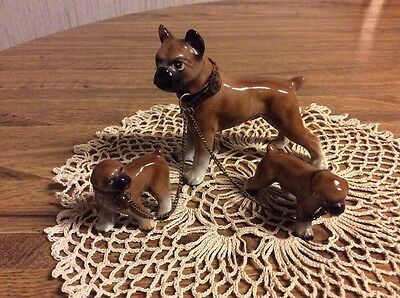 Vintage Boxer Dog Figure With Pups