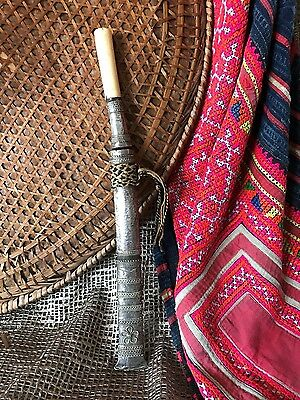 Old Burmese Dha Dagger / Knife… in a beautiful ornate silver sheath