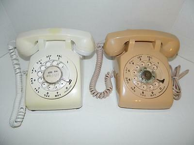 2 Vtg Rotary Telephones Off White Beige Ohio Bell Systems Northern Telecom USA