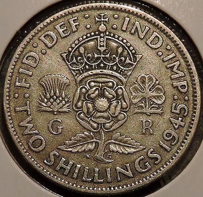 British Florin - 1945 - Big Silver Coin - $1 Unlimited Shipping