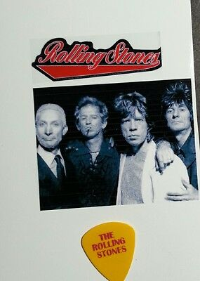 The ROLLING STONES framed photo MICK JAGGER Yellow & Red Tongue GUITAR PICK