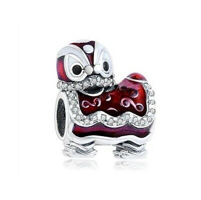 S925 Silver EUROPEAN Dancing Lion Chinese New Year Charm CZ +FREE Pandora Cloth