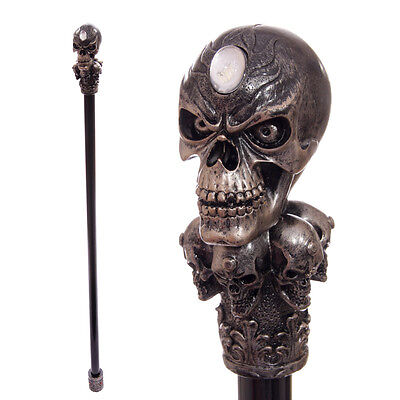 Walking Stick with Fantasy Bronze Multi Skull Top