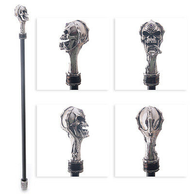 Walking Stick with Fantasy Silver Skull Top