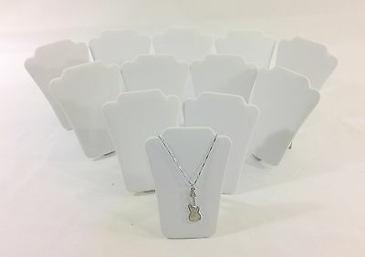 """12pc White Leather Collapsible Necklace Easel Stand Jewelry Showcase Display 5""""H"""