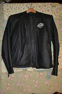 Women's Leather Reflective Embroidery Harley Davidson Jacket Zip Out Liner Sz Sm