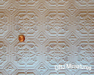 "Dollhouse Ceiling Wallpaper - 2 Sheets! ~Wow!!  3 1/2"" Squares  DBJ-04"