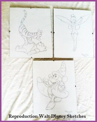 REPRODUCTION FRAMED SKETCHES WALT DISNEY Winnie The Pooh, Tinkerbell, Fantasia