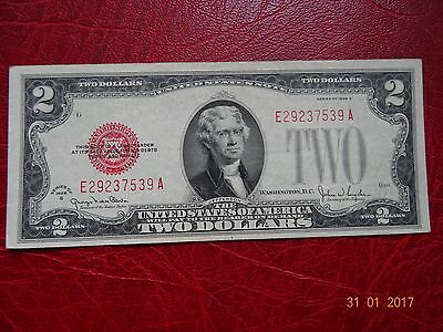 1928 UNITED STATES 2 Dollar Bill Red Seal Collectible Grade  RARE