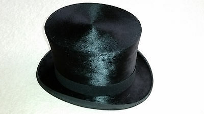 VINTAGE BLACK SILK TOP HAT made by G A DUNN & CO with ORIGINAL BOX