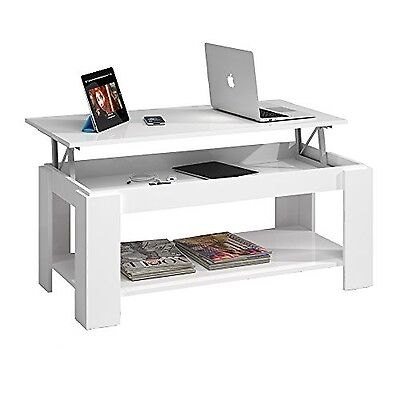 Mesa de Centro Elevable con Revistero Incorporado Blanco Rectangular Home Table