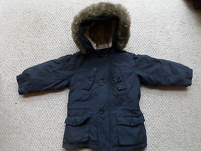 Boys Ralph Lauren Navy Blue Padded Jacket with Removable Fur Collar Age: 3 years