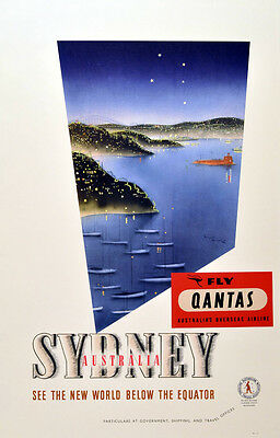 1930s FLY QANTAS SYDNEY AUSTRALIA TRAVEL POSTER NEW A2 CANVAS ART PRINT